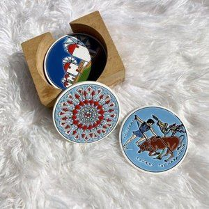 Vintage Pandora Ceramic Greek Mythology Coasters